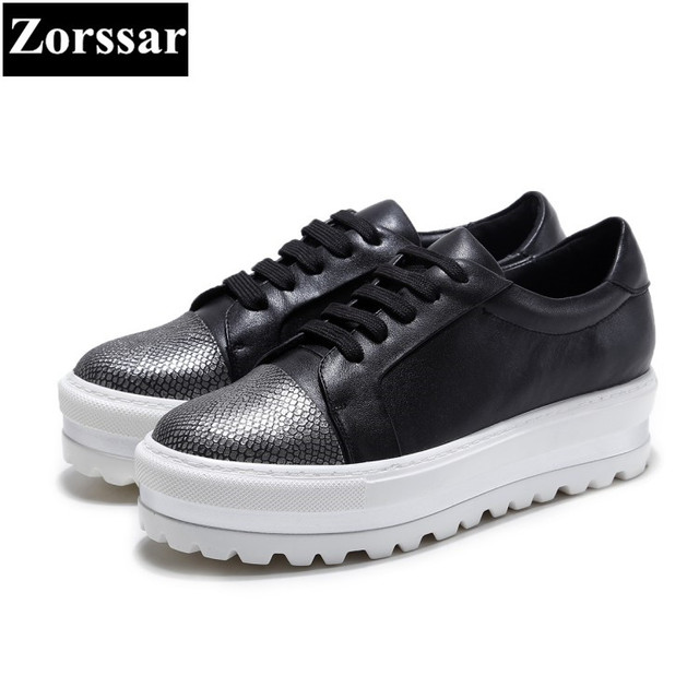 {Zorssar} 2017 Fashion Genuine leather Leisure Women Flat Loafers Female Casual shoes lace up Womens Flats platform shoes