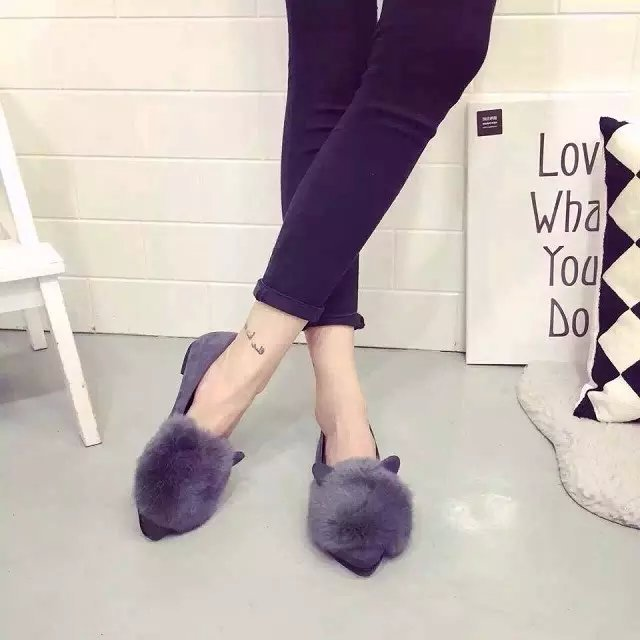 New Fashion 2016 Autumn Women Flats Pointed Toe Rabbit Ears Shoes Woman Rabbit Fur Single Flat Women Shoes Casual Shoes Loafers