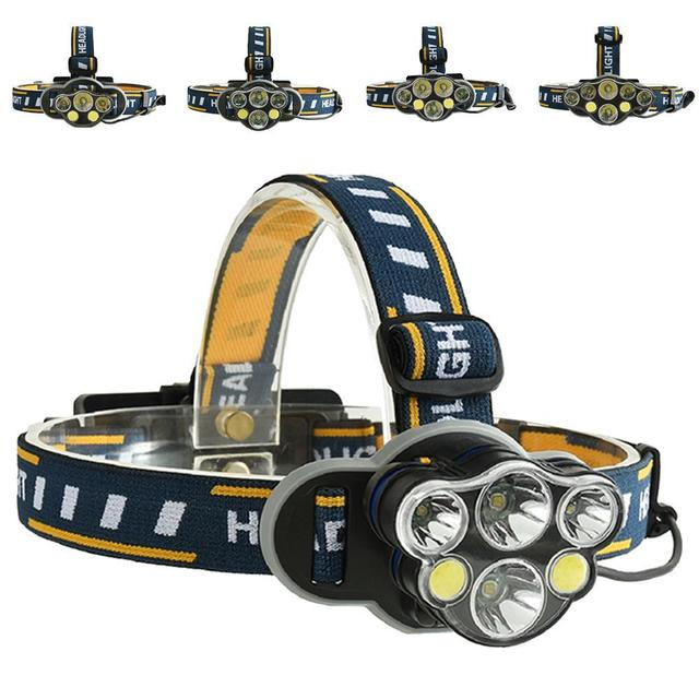 Super Bright 5 6 7 8 LED Headlamp USB Rechargeable Cycing Waterproof Headlamp 8 modes Adjustable Angle