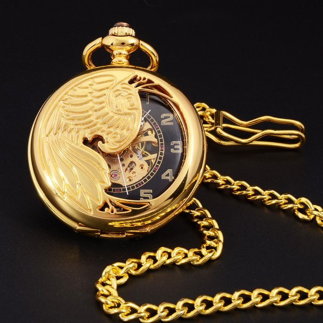 Retro Gold Semi-hollow Phoenix Wings Carving Case Men Hand Wind Necklace Fob Clock Mens Fashion Skeleton Mechanical Pocket Watch