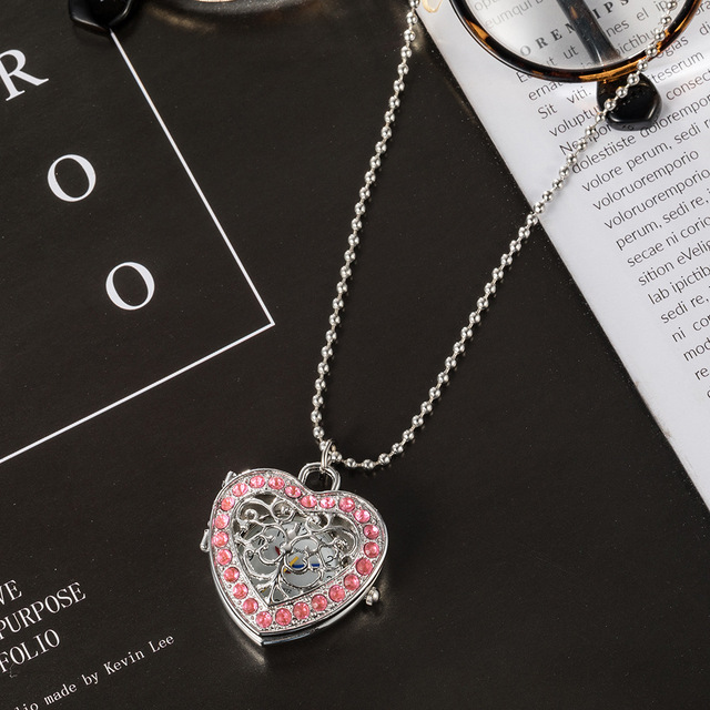 10pcs/Lot Stainless Steel Heart Necklace Pocket Women Girl Dress Watches Long Necklace Crystal Diamonds Pendant Watch GL18T Gift
