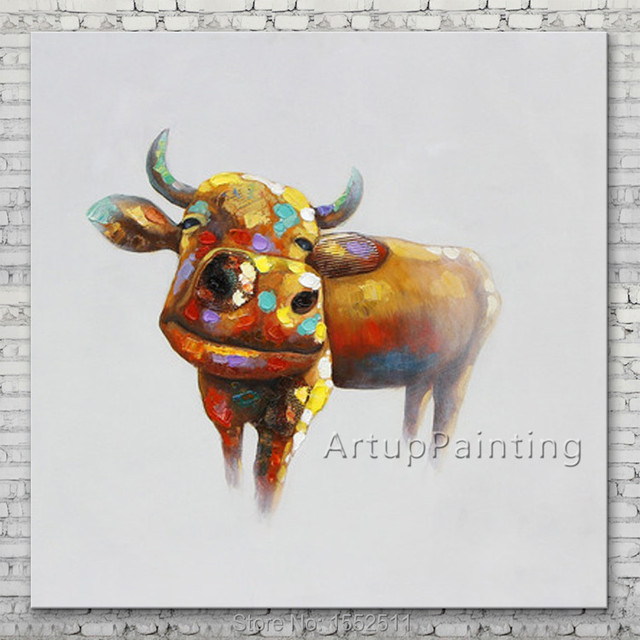 Pop art Cow-Painting-on-Wrapped-Canvas-Oil painting On Canvas Wall Pictures Paintings For Living Room Wall decorative pictures