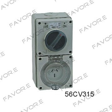 *10A/15A single phase 3 flat pin waterproof combination switch with socket multi pin socket 56CV310,56CV315