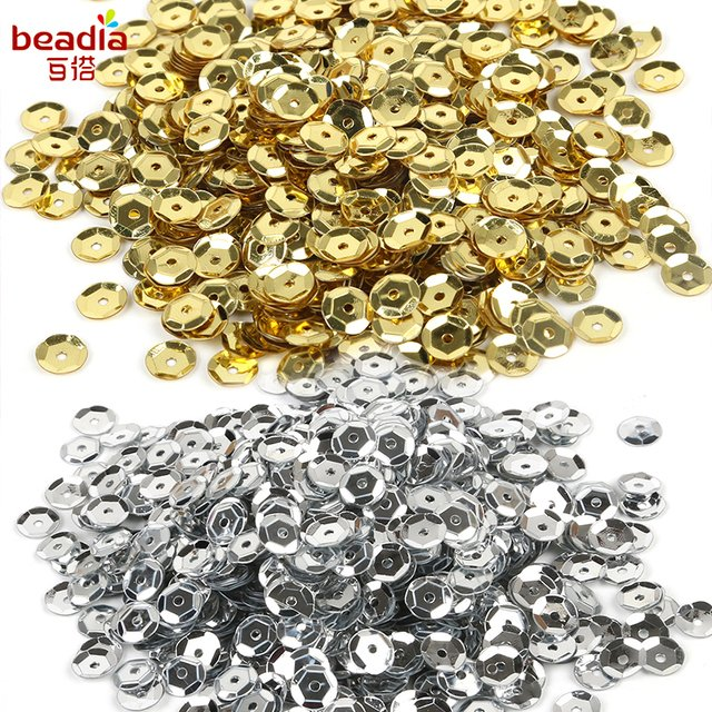 20g Silver Cup Sequin 6mm Flat Round PVC loose Sequins For Crafts Sewing Decoration 1200pcs DIY Accessory Lentejuelas Para Coser