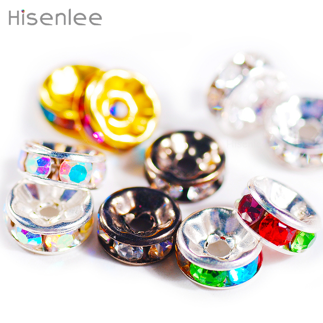 100pcs/lot 8MM Zinc alloy Colourful Round Glass Crystal Loose Beads For Necklace Bracelet DIY Charms Jewelry Making Tools