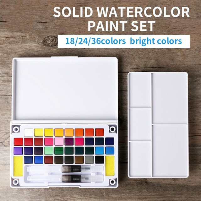 Professional Solid Watercolor Set Stationery 12/18/24/36 Colors Solid Watercolor Paint Watercolors Portable Pigment Paints Set