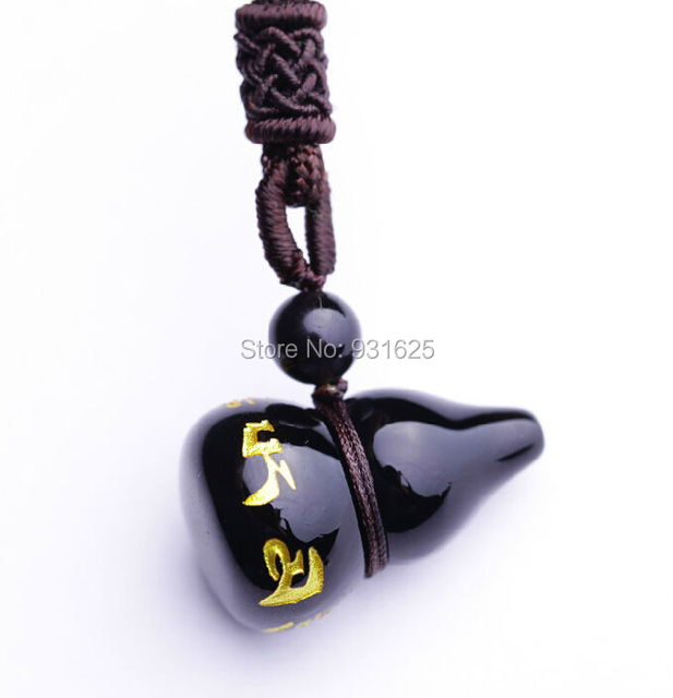 Wholesale Natural Black Obsidian Carved Scriptures Cucurbit Style Lucky Amulet Pendants free Necklace fashion Pendant Jewelry