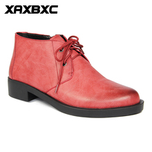 XAXBXC 2018 Retro British Autumn Red Brogues Lace-Up Short Ankle Boots Warm Women Boots Handmade Casual Lady Shoes