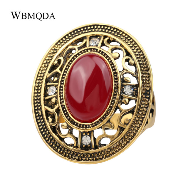 Luxury Big Red Blue Stone Ring Gold Crystal Hollow Cross Rings For Women Ethnic Indian Jewelry Vintage Accessories