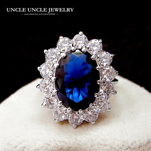 Classic Royal Family Design White Gold Color Austrian Crystal Ocean Blue Princess Lady Ring Wholesale