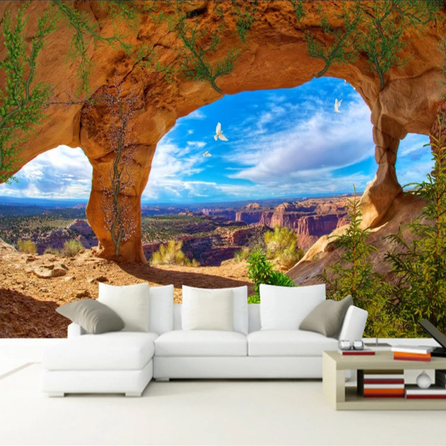 Custom Mural Wallpaper Blue Sky And White Clouds Cave Landscape 3D Photography Backdrop Photo Wallpaper For Living Room Bedroom