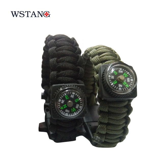 W S TANG New 2014 Survival Bracelet ignition umbrella rope rescue rope escape rope climbing rope outdoor equipment compass