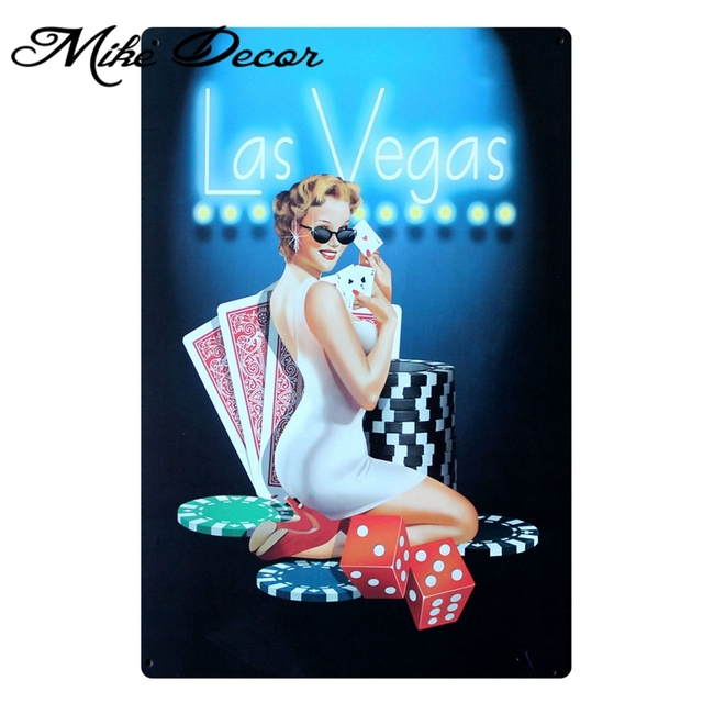 [ Mike86 ] Les Vegas Sexy Lady Playing Poker Metal signs Art  wall decor House Cafe Iron Painting B-81 Mix order 20*30 CM