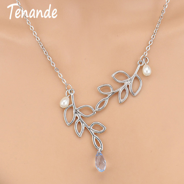 Tenande Fresh Style Silver Color Lariat Hollow Leaf Crystal Simulated Pearl Necklaces & Pendants for Women Jewelry Bijuter Colar