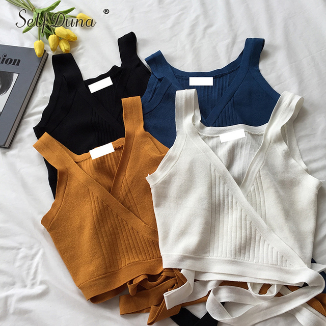 Self Duna 2018 Summer Women Knitted Tank Sexy Crop Top Female Vest Knitting Sleeveless V Neck Lace Up Strappy Camisole Tank