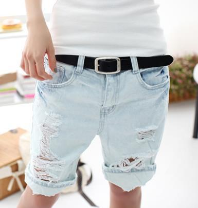 2015 Fashion Women Retro American Baggy Boyfriend Short Jeans Ladies Vintage Blue Knee Holes Washed Denim Cuffs Short Pants