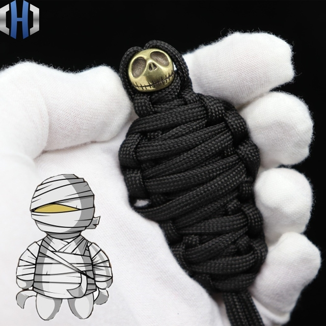 2m 7 Core Paracord Pure Copper DIY Mummy Pumpkin Knife Beads Brass Halloween Skull Beads Rope EDC Tools Survival Paracord Beads