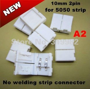 300pcs/lot wholesale price (NO: A2) 10mm 2pin connector for 5050 single color strip, no welding LED connector, free shipping