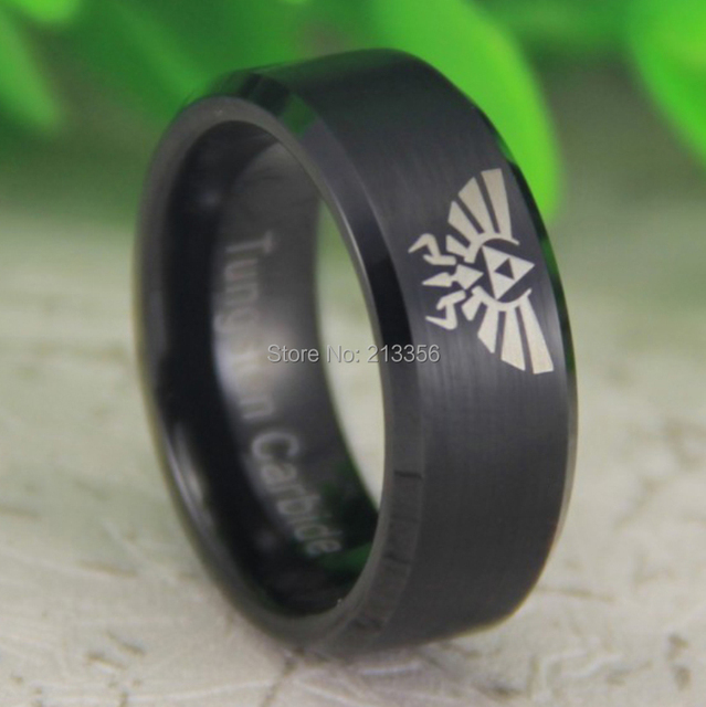 Free Shipping USA UK CANADA RUSSIA Brazil Hot Selling 8MM Stain Black Beveled Legend of Zelda New Men's Tungsten Wedding Ring