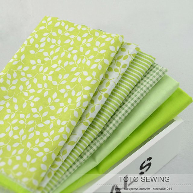 Booskew  Cotton Fabric Free Shipping 6 Pieces/lot 45CM*50CM Fresh Green Fat Quaters Quliting Sewing Bedding Cloth Textile W1A4-4