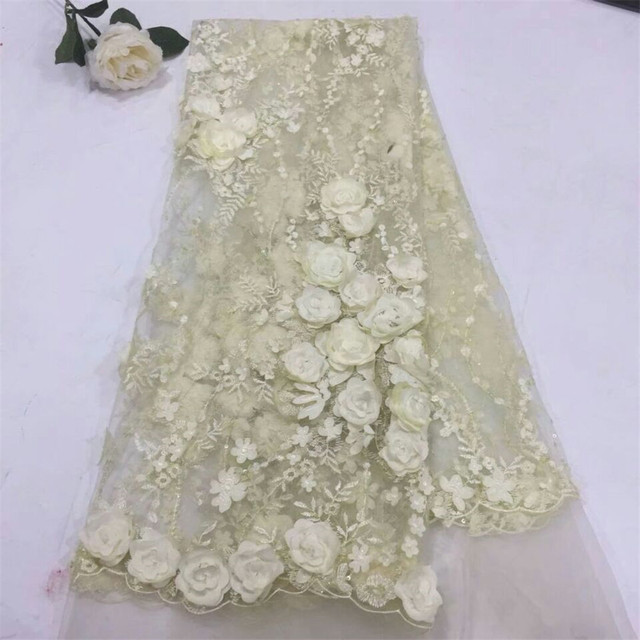 African Material Beaded 3d Lace Fabric For Wedding, White African Lace Fabric 2018 High Quality Lace  H673-1