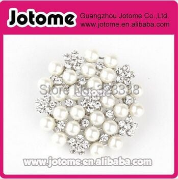 100pcs/lot 26mm Classical Pearl Flower Bridal Bouquet Brooch Pin for Wedding Invitation Cards