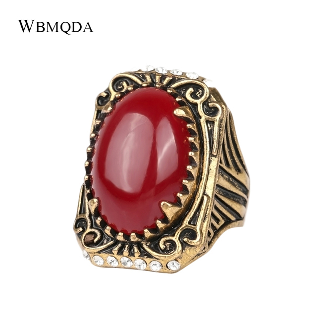 Vintage Turkish Indian Jewelry Black Red Stone Crystal Ring Antique Gold Color Punk Rock Stripe Wedding Rings Gifts For Men