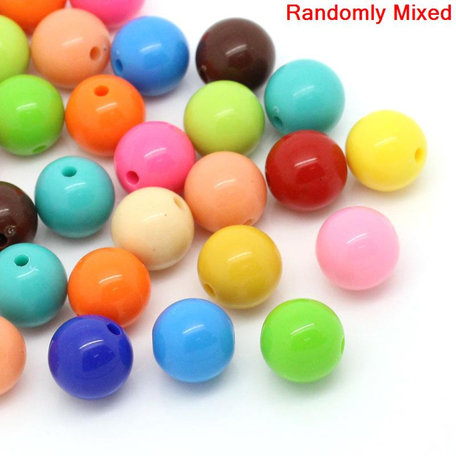 DoreenBeads Acrylic Spacer Beads Round Mixed Color 14mm Dia,50PCs(B22146), yiwu