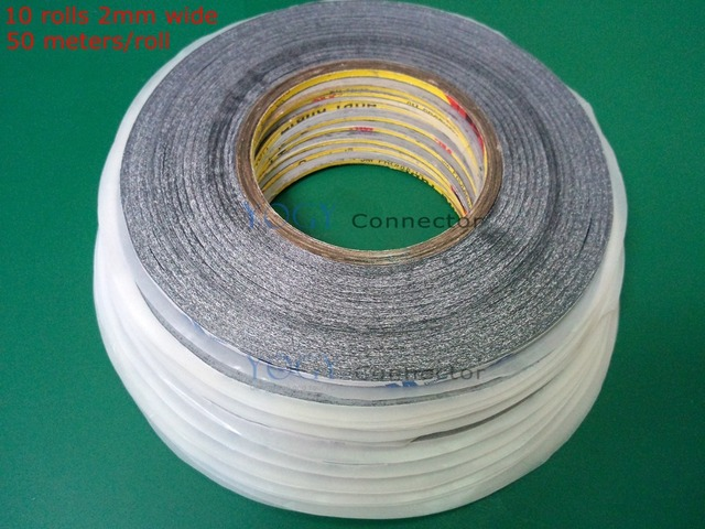 10 rolls 2mm x50M 3M 9448AB Black Double-sided adhesive Tape for iphone ipad Samsung Tablet TouchScreen LCD Lens