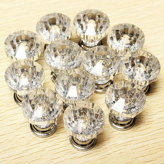 12pcs 30mm Acrylic Diamond Shape Knobs Handles Shoebox Cabinet Handles Closet Door Drawer Wardrobe Cupboard Pullers Hardware