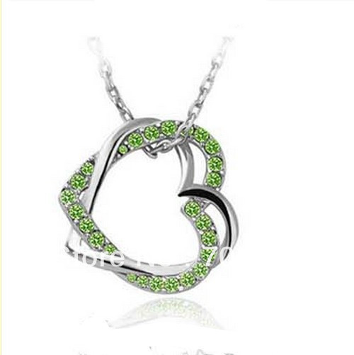 White Gold Tone Double Hearts Twist Olive Green Austria Crystal Pendant Necklace