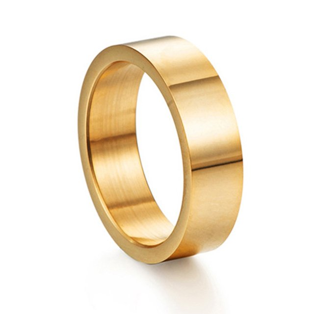 Gold Silver Black Color Stainless Steel Rings for Women Simple Width 6mm Fashion Couple Rings Jewelry
