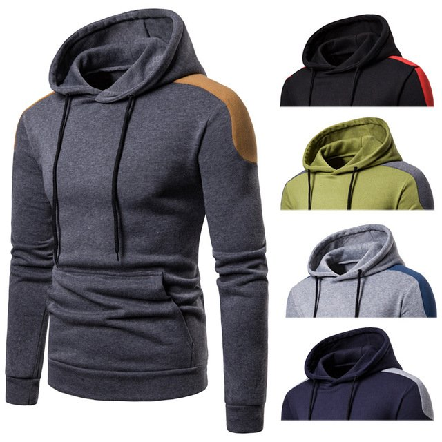 Tide brand men's large size sweatshirt Autumn and winter hooded men's solid color pullover top Fashion casual top
