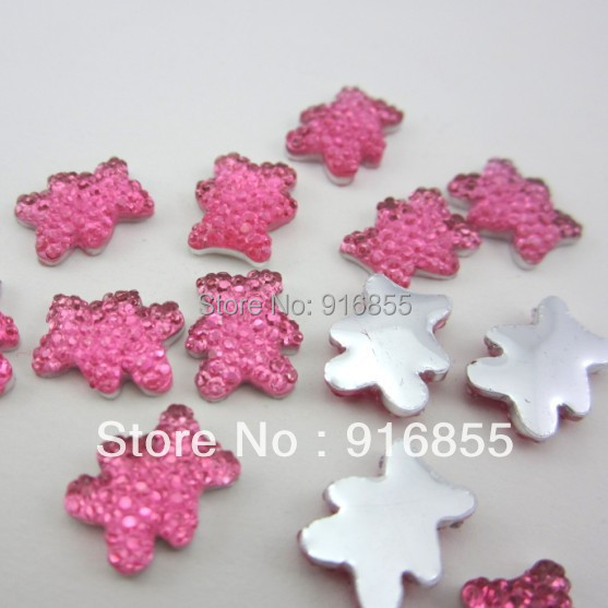 Free shipping 30pcs 12*10mm Deep Pink Bear Head Shape Flatback Resin Rhinestone,Cartton Resin Beads For Diy Decoration