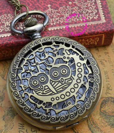 Wholesale Price Good Quality Fashion Lady Girl Women Retro Quartz New Bronze Brass Owl Pocket Watch Necklace Hour