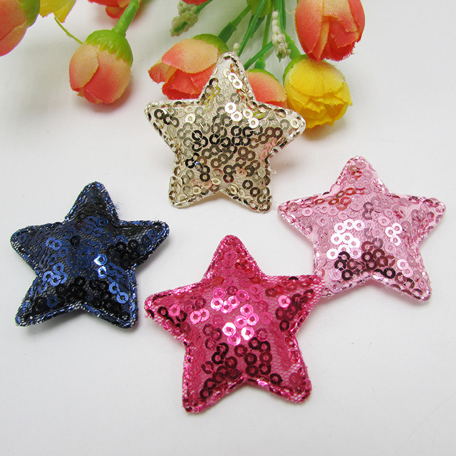 20pcs/lot Bling Sequins Five Star Applique Patches For Clothing Sew On Cloth Bag Dress Stickers Decoration, DIY hair accessories