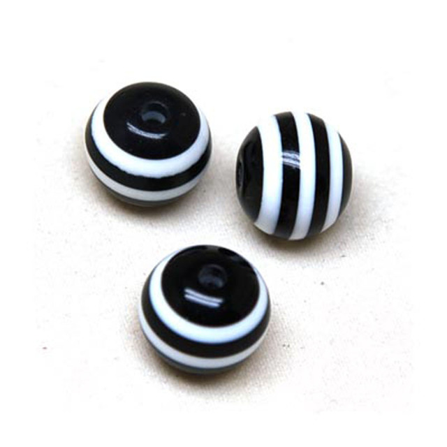 Loose beads striped resin beads laminated/stripiness round beads 6mm,black/white  (Min Order $20)