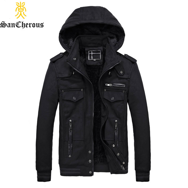 New Winter Jacket Men Thick Warm Outerwear Hood Detachable Men Jacket Coat Casual Windproof Parkas