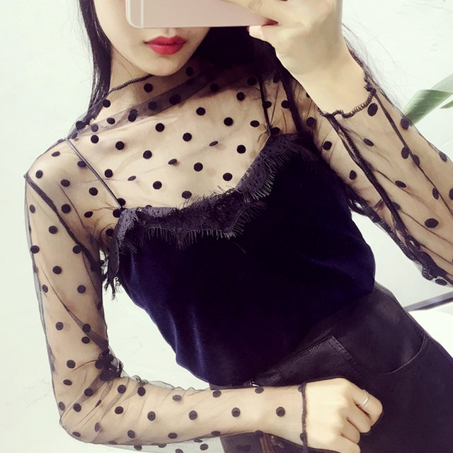 Sexy Mesh Sheer See-through Crop Tops Fashion Women Hollow Out Long Sleeve Cover Up Thin Blouse Shirt Black