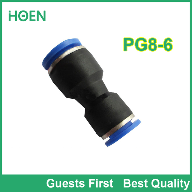 100 pcs/lot PG Unequal Straight Union PG8-6 8mm to 6mm Air Tube Fitting One touch push In pneumatic fitting connectors