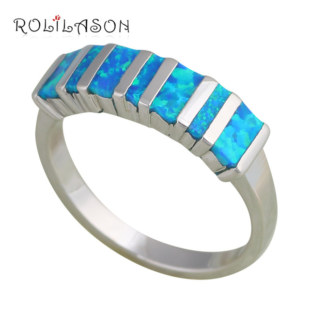 Best gifts ! Popular Blue fire Opal Silver Stamped Rings for women fashion jewelry USA size #6 #7.5 #8 #9 OR480