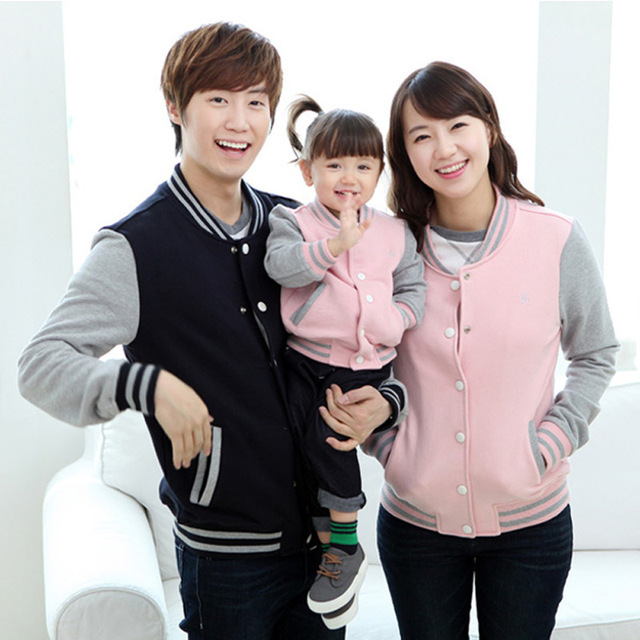 Autumn winter Family look clothing Fall baseball coat jacket mother and daughter son father children clothes boy girl mommy me