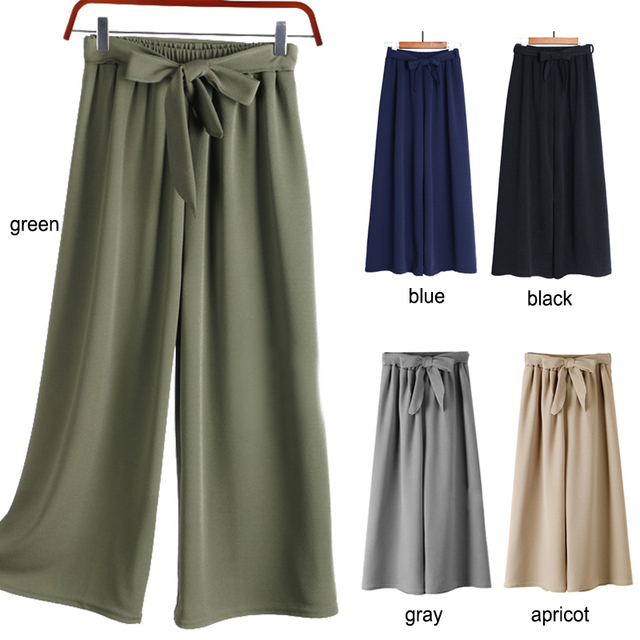 Wide Leg Pants with belt bow Women loose palazzo pants elastic waist casual spring pants summer New Korean Fashion Trousers 2019