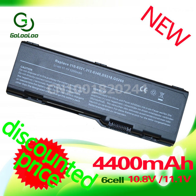 Golooloo 4400MaH Laptop Battery for dell 310-6321 312-0340 312-0348 D5318 F5635 G5260  6000  9200 9300