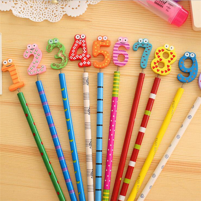 40PCS/lot Kawaii Number Design Wooden Pencil Office Wholesale Pencils Nice Gift Prize Stationery Pencils Kids Gifts Wholesale