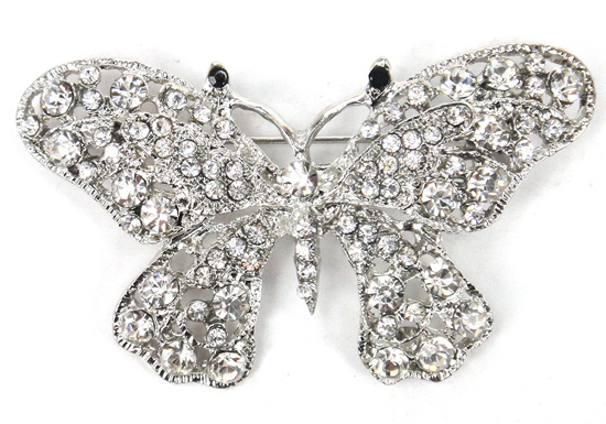 Free shipping Rhodium Plated Metal butterfly Fashion Women rhinestone butterfly Brooches