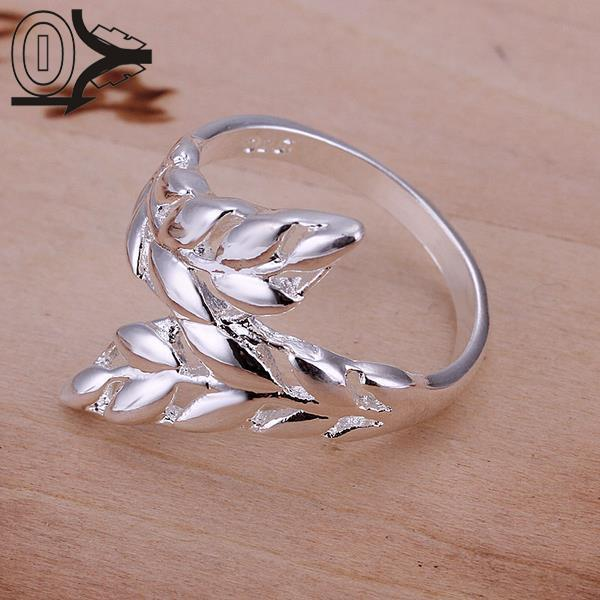 Wholesale Silver-plated Ring,Fashion Jewelry,Women&Men Gift  Leaves Feather Finger Rings