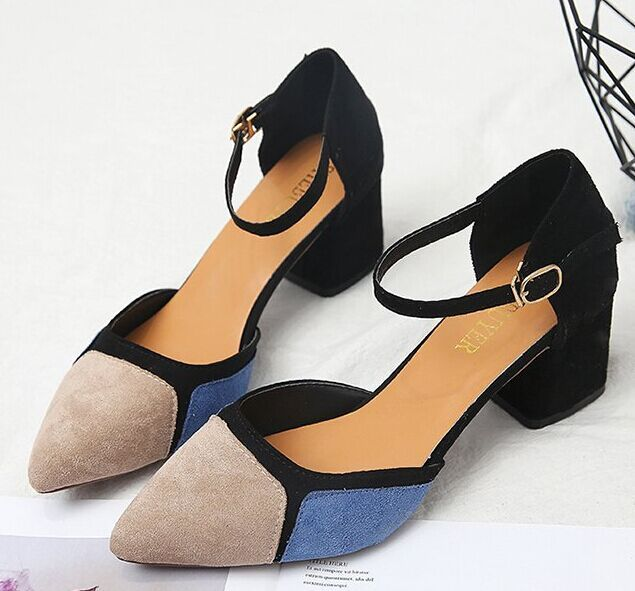 2019summer new women thick with shallow Colorblock Women Shoes Pointed Toe Pumps Dress High Heels comfortable single shoes