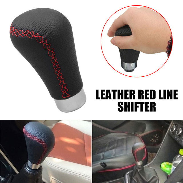 Vehemo Black PU Leather Car Gear Shift Knob Lever Manual Gear Shift Knob Auto Gear Shift Knob Creative Universal Gaitor Boot