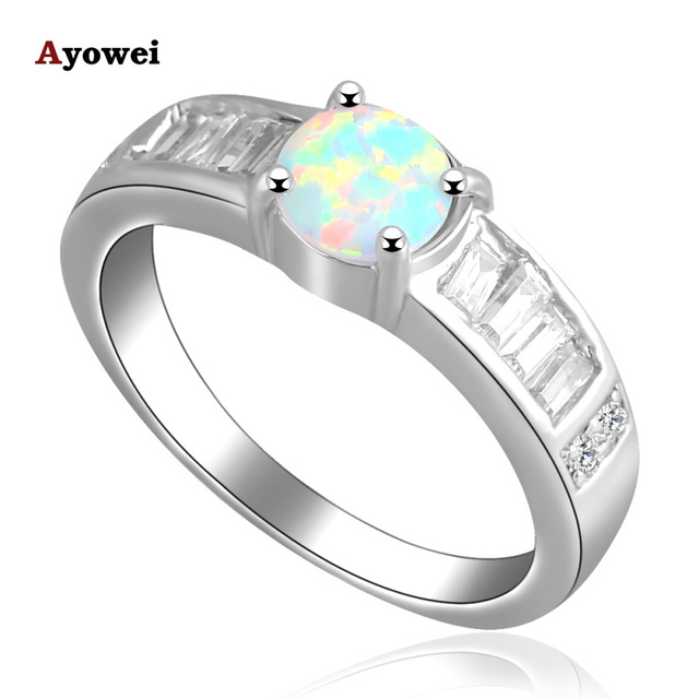 Hot selling  Designer Silver Stamped fashion jewelry Green Opal wedding Rings for women Opal jewelry SZ #7.5 #6.5 #8.5 OR546A